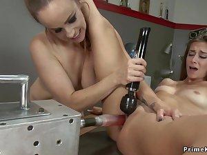 Lesbian cheerleaders copulating machines