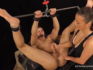 Sexy dominatrix Lucy Vojak fucks anal hole of submissive boyfriend