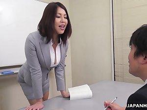 Erika Nishino talks to the brush future would fright assistant and fucks him good