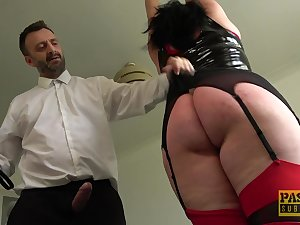 Tall BBW with a fat dimpled tokus gets punished and fucked