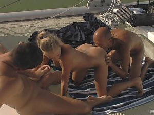 Outstanding hardcore orgy in burnish apply warm sunlight on a boat