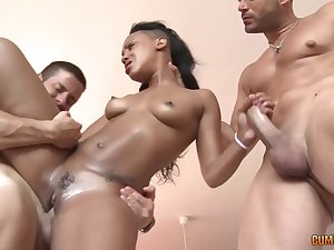 Black babe, Noe Milk is shafting two guys handy the same time, like a pro