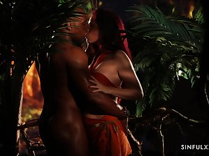 Uninhibited Czech hottie Antonia Sainz is aptly fucked by black stud there the jungles