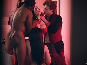 Busty streetwalker Gianna Dior takes a chance to enjoy hardcore orgy with studs