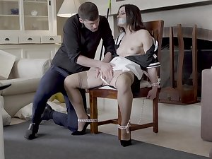 Intriguing home domination with be transferred to unladylike tied up coupled with gagged