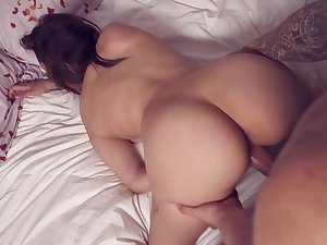 French brunette, Sabrina is making her first porn scene and moaning, because it feels so good