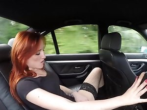 Wild alfresco fucking between a cop and redhead Sabina Black