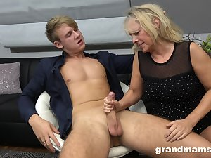 Hot franchise boy bangs sex-starved old woman Marta and cums in her mouth