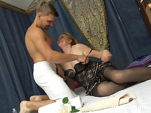 Slutty granny in stockings Marta has an speculation with horny young pupil