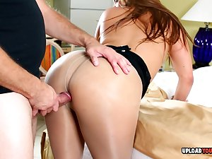 Sexy brunette neighbor helps me with a blowjob