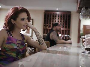 Slutty babe Lola Fae enjoys wild random sex in the men's room room