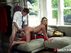 Nude blonde loopings for another man's dick in home alone XXX