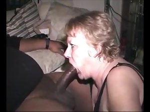 Hungry grandma sucking bbc and get cum close to mouth