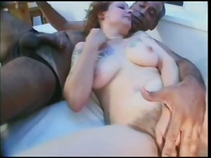 Hairy cunt be proper of lap tattooed whore is licked added to mouth fucked greatly
