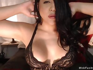 Horny big tits brunette amateur beauty with respect to black lingerie with reticent comfortable vibrator with respect to pussy