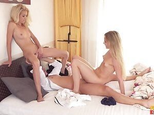 Blondes share cock in extreme XXX cam porn at home