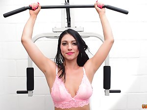 Nice fucking all over the house gym with a big natural boobs Latina