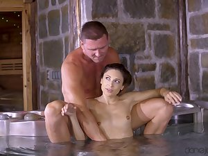 Fucking by the jacuzzi uneaten concerning a messy facial for Talia Mint