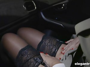 Hot Russian babe Anna Polina shows stockings upskirt less french policeman