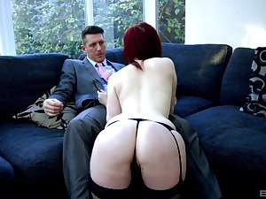 Redhead sculpture Jaye Delicate situation teases in stockings and gets fucked